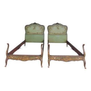 New York Galleries Antique Mahogany French Louis XV Style Twin Beds - a Pair For Sale
