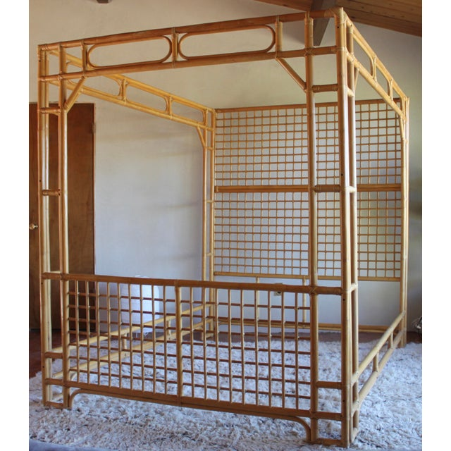 Vintage Queen Rattan and Bamboo Chippendale Chinoiserie Canopy Bed - Image 11 of 11