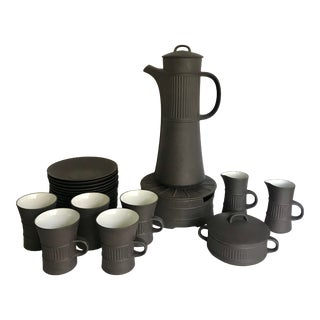 1960s Dansk Jens H. Quistgaard Jnq Flamestone Coffee Tea Service - 25 Piece Set For Sale