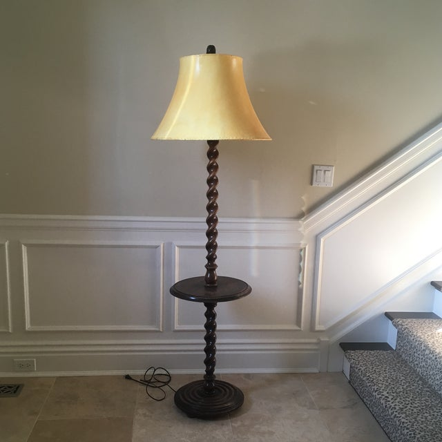 Antique English Barley Twist Oak Floor Lamp - Image 8 of 8