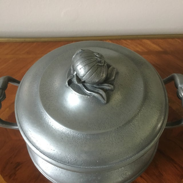French Vintage French Pewter Tureen With Onion Finial For Sale - Image 3 of 9