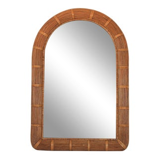 Boho Style Arched Wicker Mirror For Sale