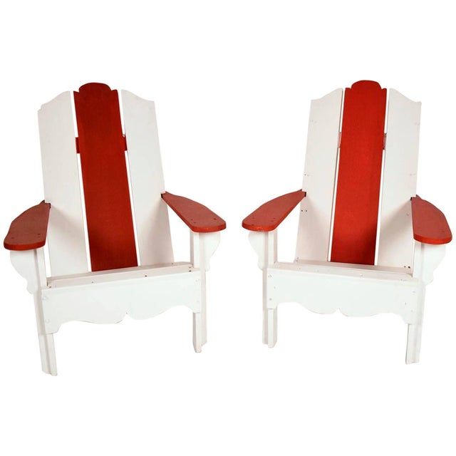 1970's White & Red Wood Pool Lounge Chairs - Pair - Image 1 of 8