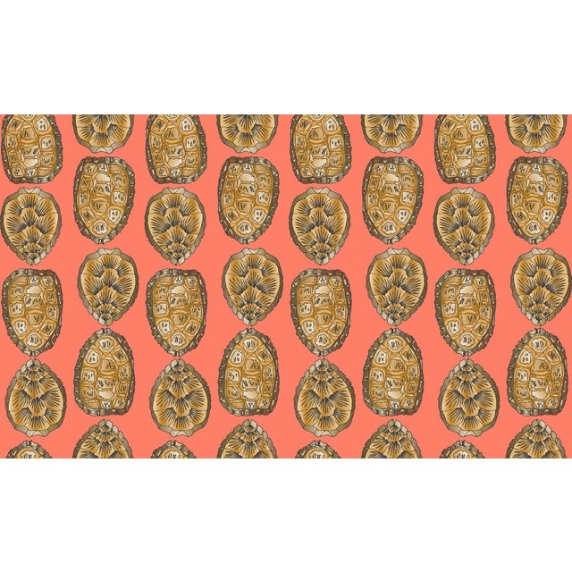 Illustration Turtle Shell Salmon Linen Cotton Fabric, 3 Yards For Sale - Image 3 of 3