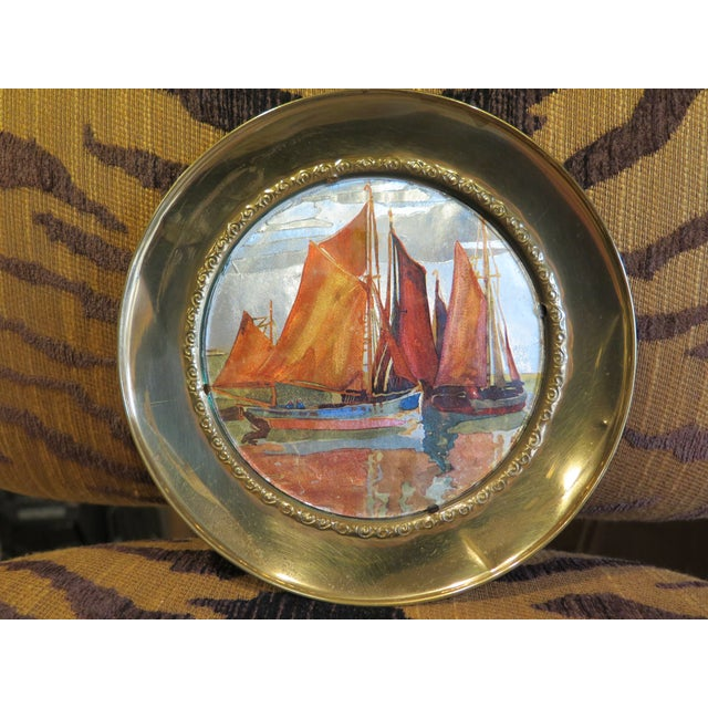 Brass 1930s Vintage Chinese Ship Decorative Brass Plate For Sale - Image 7 of 7