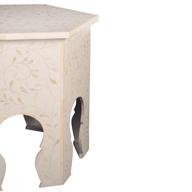 Imperial Beauty Moroccan Accent Table in MOP/White For Sale - Image 4 of 5