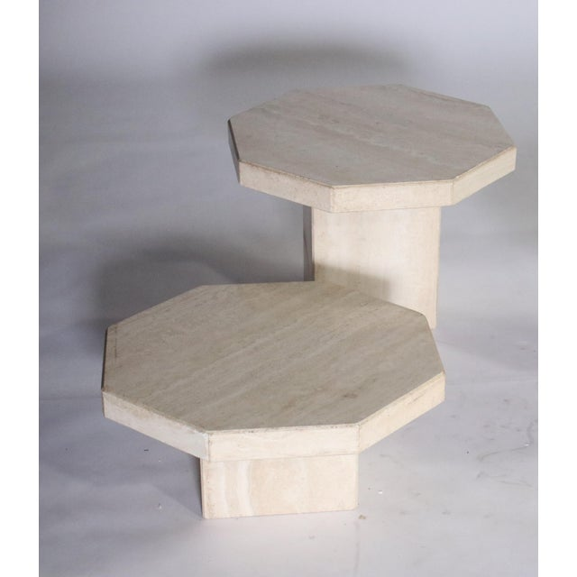 Mid-Century Modern Trio of Travertine Tables With Hexagon Shape-Tops For Sale - Image 3 of 9
