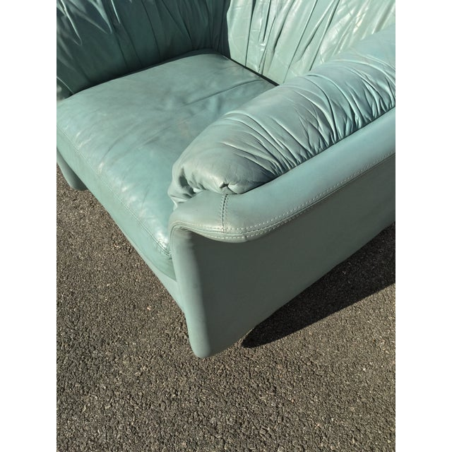 Emerson 1980s Contemporary Light Blue Leather Hickory Nc Club Chair For Sale - Image 4 of 13