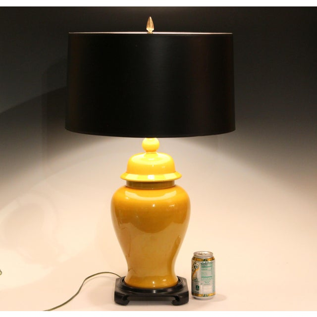 Vintage Large Japanese Crackle Glaze Yellow Zen Temple Jar Pottery Table Lamp For Sale - Image 11 of 13
