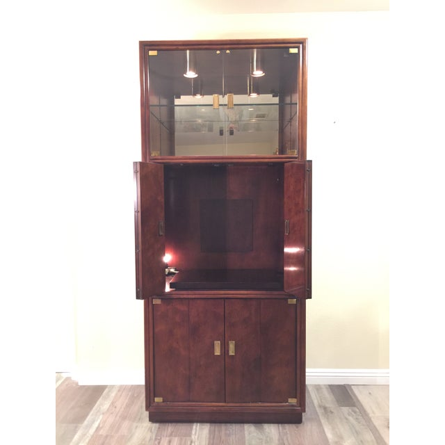 Henredon Campaign Wall Unit W/ Curio Display Cabinets, Bookshelves and Dual Door Cabinet - 4 Pc. Set For Sale - Image 11 of 13