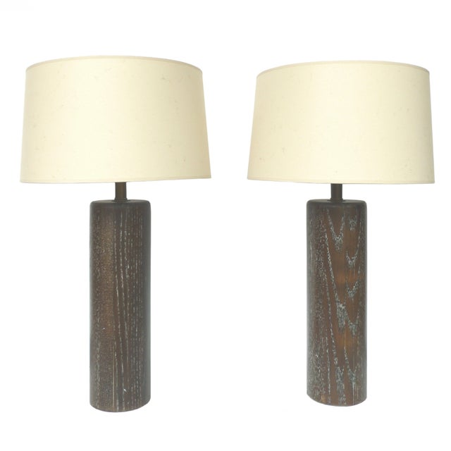 Nessen Studios Brown Cerused Oak Lamps - A Pair - Image 1 of 10