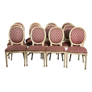 Set of 12 Paint Decorated French Oval Back Louis XVI Style Dining Chairs For Sale