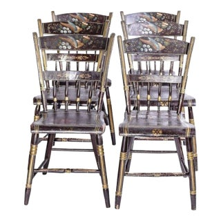 Vintage Hitchcock Chairs With Painted Bird Design, - Set of 5 For Sale