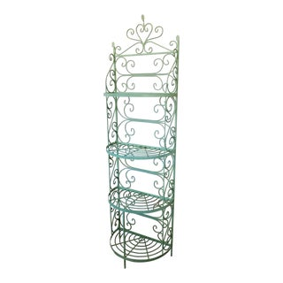 Mid Century 1950s Woodard Green Painted Wrought Iron Narrow Half Moon Curved Front Bakers Rack Shelf For Sale