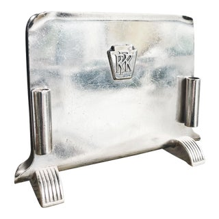 Vintage 1947 Silver Menu Holder From Pennsylvania Railroad For Sale