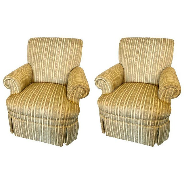 Pair of Hollywood Regency Style Custom Overstuffed Arm/Lounge Chairs Fine Fabric For Sale - Image 10 of 10