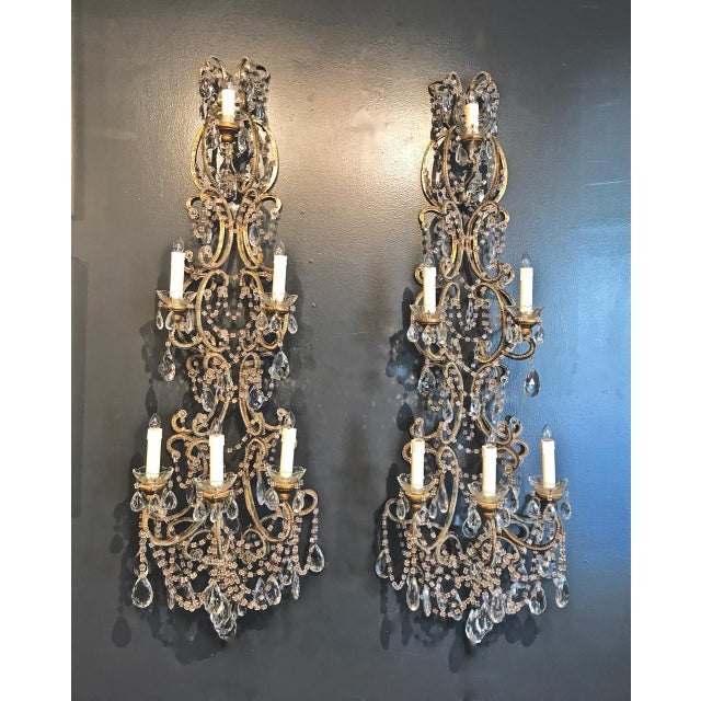 Metal Pair Italian Beaded Sconces, C. 1950s For Sale - Image 7 of 7