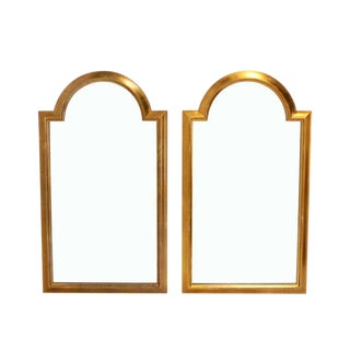 Pair of Gold LaBarge Rectangle Arch Top Mirrors For Sale