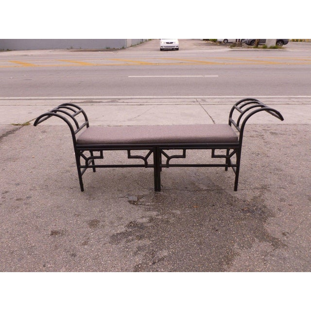 Chinese 1990's Vintage Post Modern Chinese Chippendale Metal Bench For Sale - Image 3 of 12