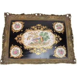 Modern Antique Style Pasargad N Y Porcelain and Bronze Tray