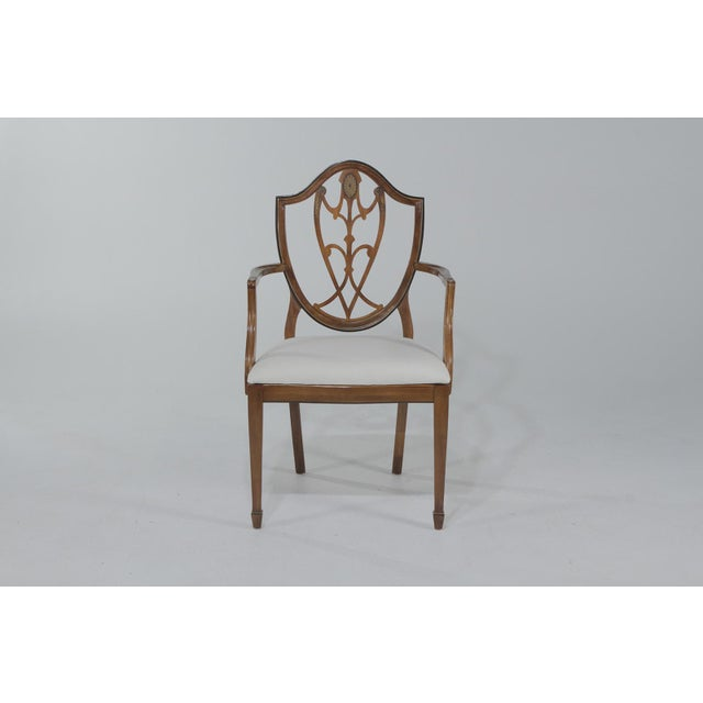 Neoclassical 1950s Vintage Shield Back Mahogany Dining Chairs- Set of 6 For Sale - Image 3 of 13