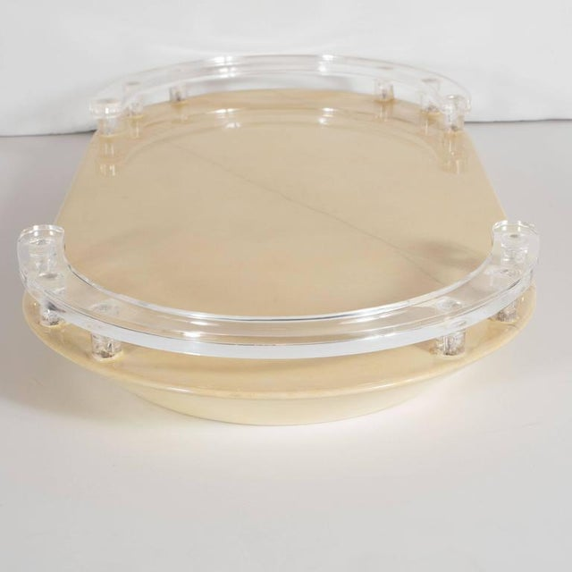 1970s Mid-Century Modernist Lacquered Goatskin and Lucite Tray For Sale - Image 5 of 9
