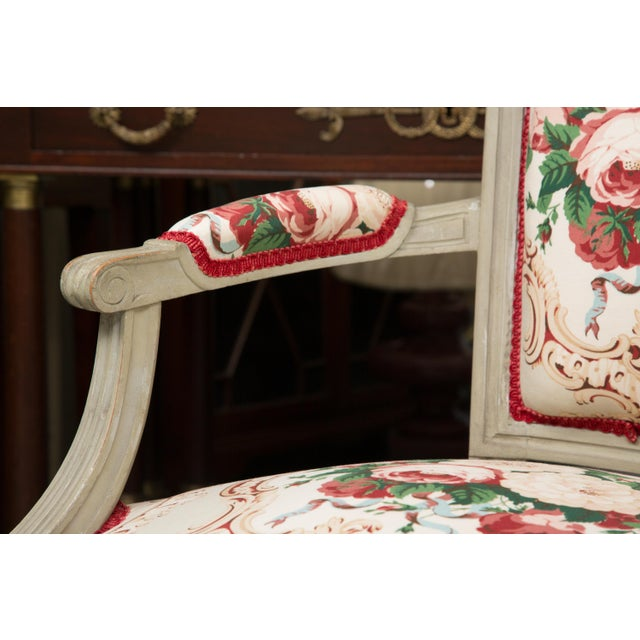 Late 19th Century Louis XVI Style Painted Armchairs - a Pair For Sale - Image 5 of 13
