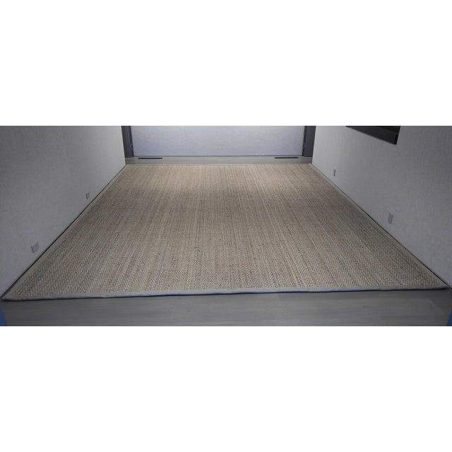 Textile Jute Are Rug With Linen Binding - 13′ × 15′7″ For Sale - Image 7 of 7