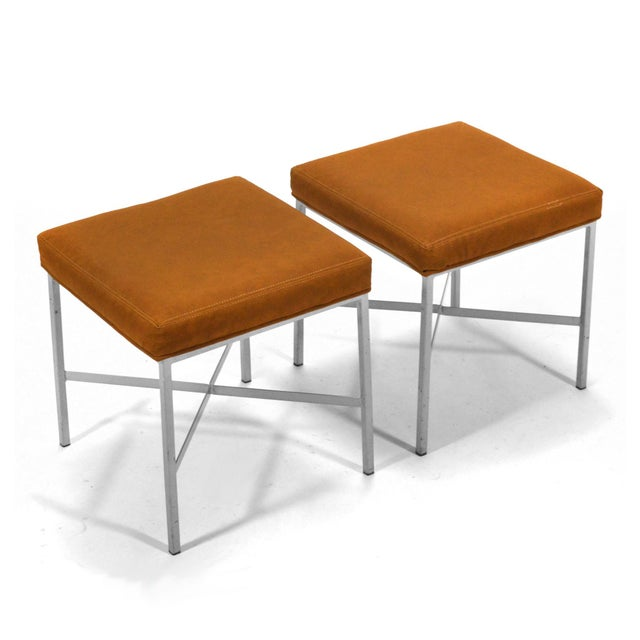 Shelby Williams Paul McCobb Style Ultrasuede Stools- a Pair - Image 2 of 7