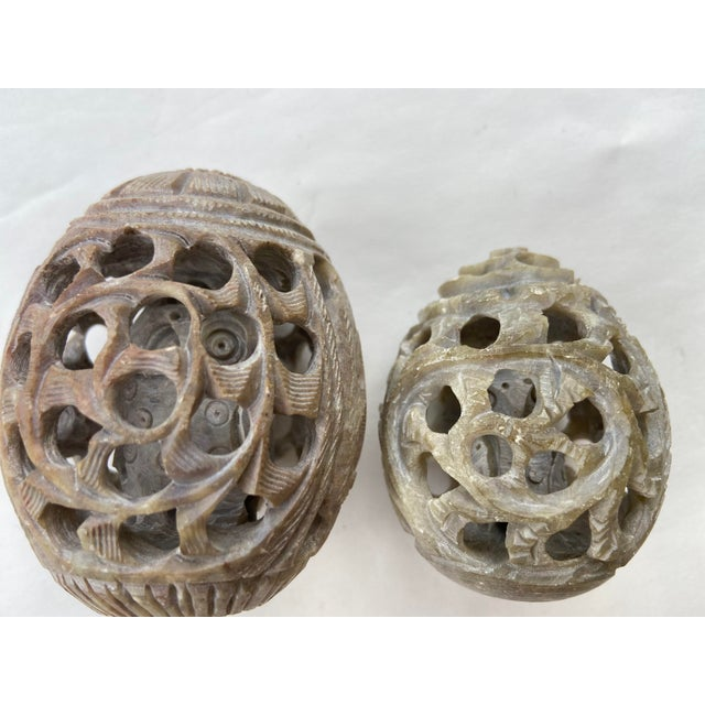 Mid-Century Modern Vintage Stone Hand-Carved Eggs- a Pair For Sale - Image 3 of 12