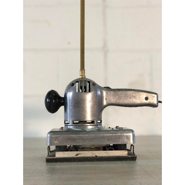 Industrial Vintage Recycled Aluminum Sander Table Lamp For Sale - Image 3 of 12