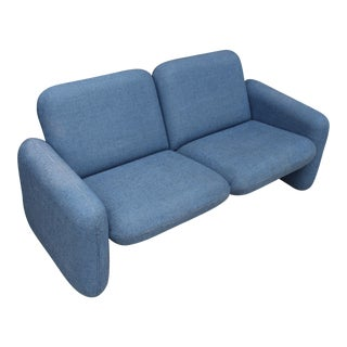 1960s Mid-Century Modern Ray Wilkes and Herman Miller Blue Chiclet Sofa For Sale