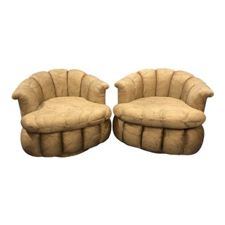 1980s Vintage Milo Baughman Style Hollywood Regency Palm Beach Glam Clam Shell Swivel Chairs- A Pair For Sale