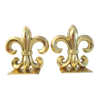 Fleur De Lis Brass Bookends - a Pair For Sale