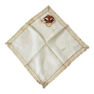 Antique World War I 'Souvenir De France' Silk & Lace Hankie