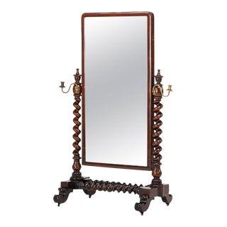 William IV Barley Twist Mahogany Cheval Mirror
