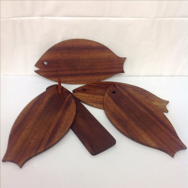 Danish Modern Teak Fish-Shaped Trays - Set of 5 For Sale - Image 4 of 4