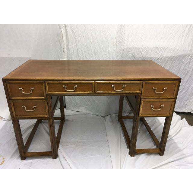 Clean lined, oak and bamboo, 5 drawer desk by McGuire, San Francisco. Desk is finished on all 4 sides so that it may float...