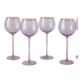 Siren Beverageware Misty Lilac + Gold White Wine - Set of 4 For Sale
