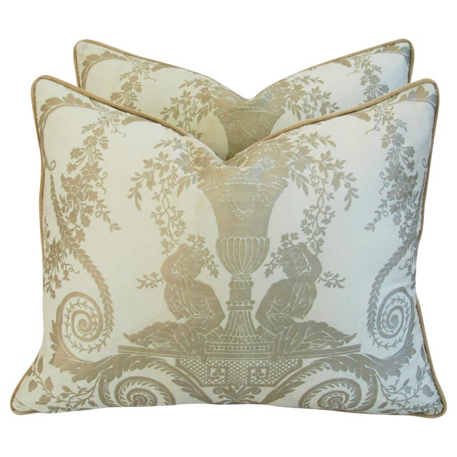 Custom Italian Fortuny Lamballe Pillows - Pair - Image 1 of 11