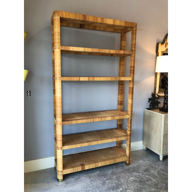 Boho Chic 1970's Hollywood Regency Bielecky Brothers Rattan Wrapped Etagere For Sale - Image 3 of 8