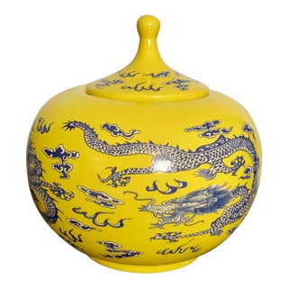 Chinoiserie Yellow Ginger Jar With Blue Dragon Decoration For Sale