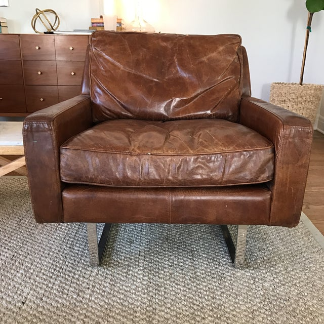 Timothy Oulton Modern Leather Club Chairs - A Pair - Image 8 of 8