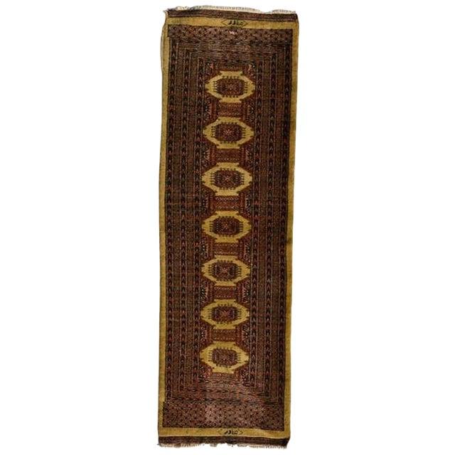 Persian Carpet Runner, Signed, 1940s For Sale