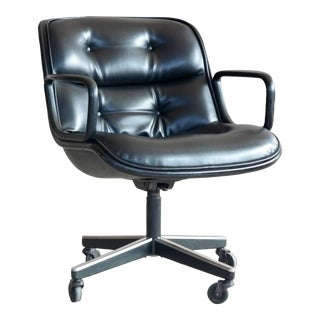 Charles Pollock Executive Chair for Knoll International in Black Leather For Sale