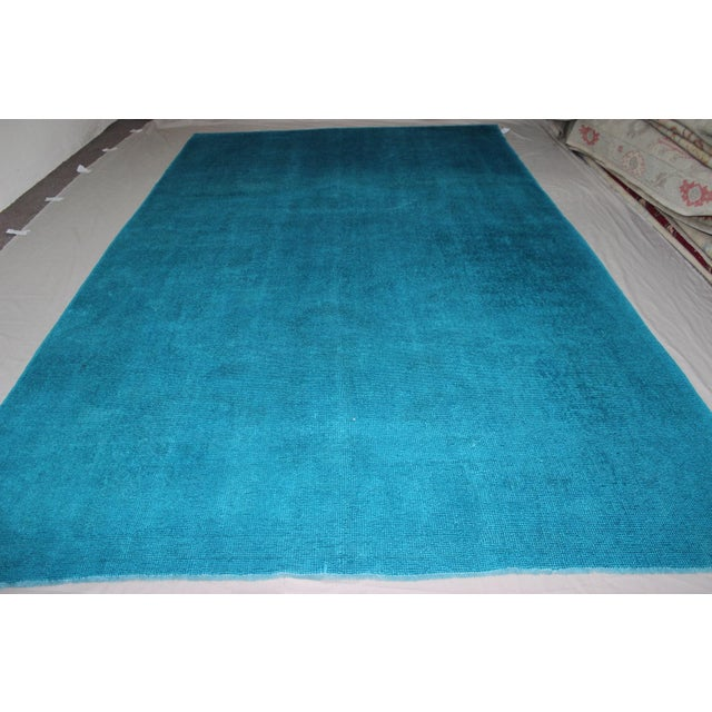 Contemporary Overdyed Blue Turquaz Rug - 5′10″ × 9′2″ For Sale - Image 3 of 7