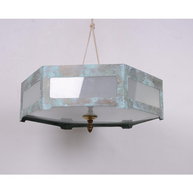 Art Deco Hexagonal Tole Ceiling Mount Lamp For Sale - Image 3 of 7