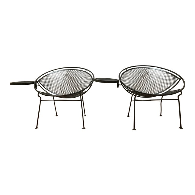 1950s Salterini Tempestini Radar Space Age MCM Mid-Century Modern Wrought Iron Lounge Patio Chairs- a Pair For Sale