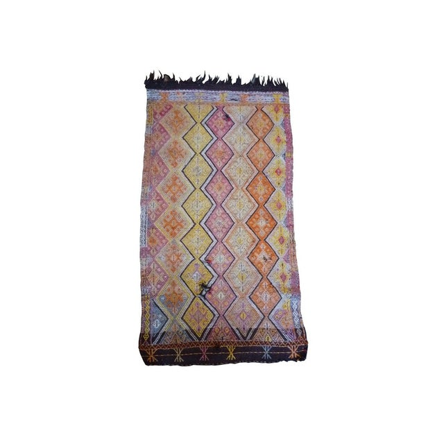Kilim Rug with Horse Hair Fringe. Two noticeable pulls in weave Local Pickup is available ONLY during normal business...