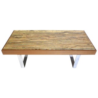 Ilse Möbel Coffee Table With Rare 'Onyx Travertine', Teak & Chrome From Germany For Sale
